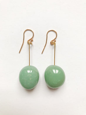 Oval Chrysopras Earrings in dark green