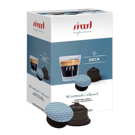 Dolce Gusto Compatible Coffee Capsules - Deca (16 Single Serve Pods) - Mood Espresso - Dubai