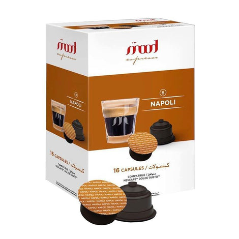 Dolce Gusto Compatible Coffee Capsules - Napoli (16 Single Serve Pods) - Mood Espresso - Dubai