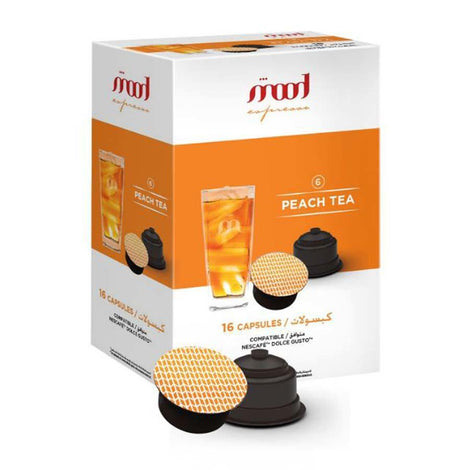 Dolce Gusto Compatible Capsules - Peach Tea (16 Single Serve Pods) - Mood Espresso - Dubai