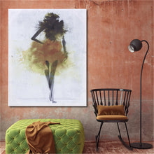 Load image into Gallery viewer, Fashion Yellow Girl Minimalist Abstract Art Canvas Oil Print Paintings Framed/Unframed - SallyHomey Life's Beautiful