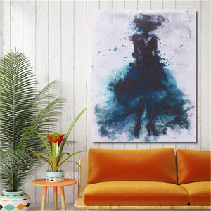 Fashion Green Girl Minimalist Abstract Art Canvas Oil Print Paintings Framed/Unframed - SallyHomey Life's Beautiful
