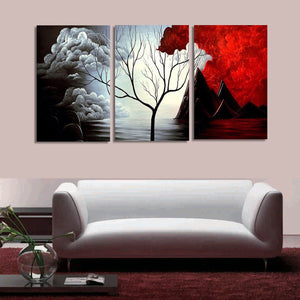 3 PCS Tree Modern Abstract Landscape Canvas Painting Print Picture Home Art No Frame - SallyHomey Life's Beautiful