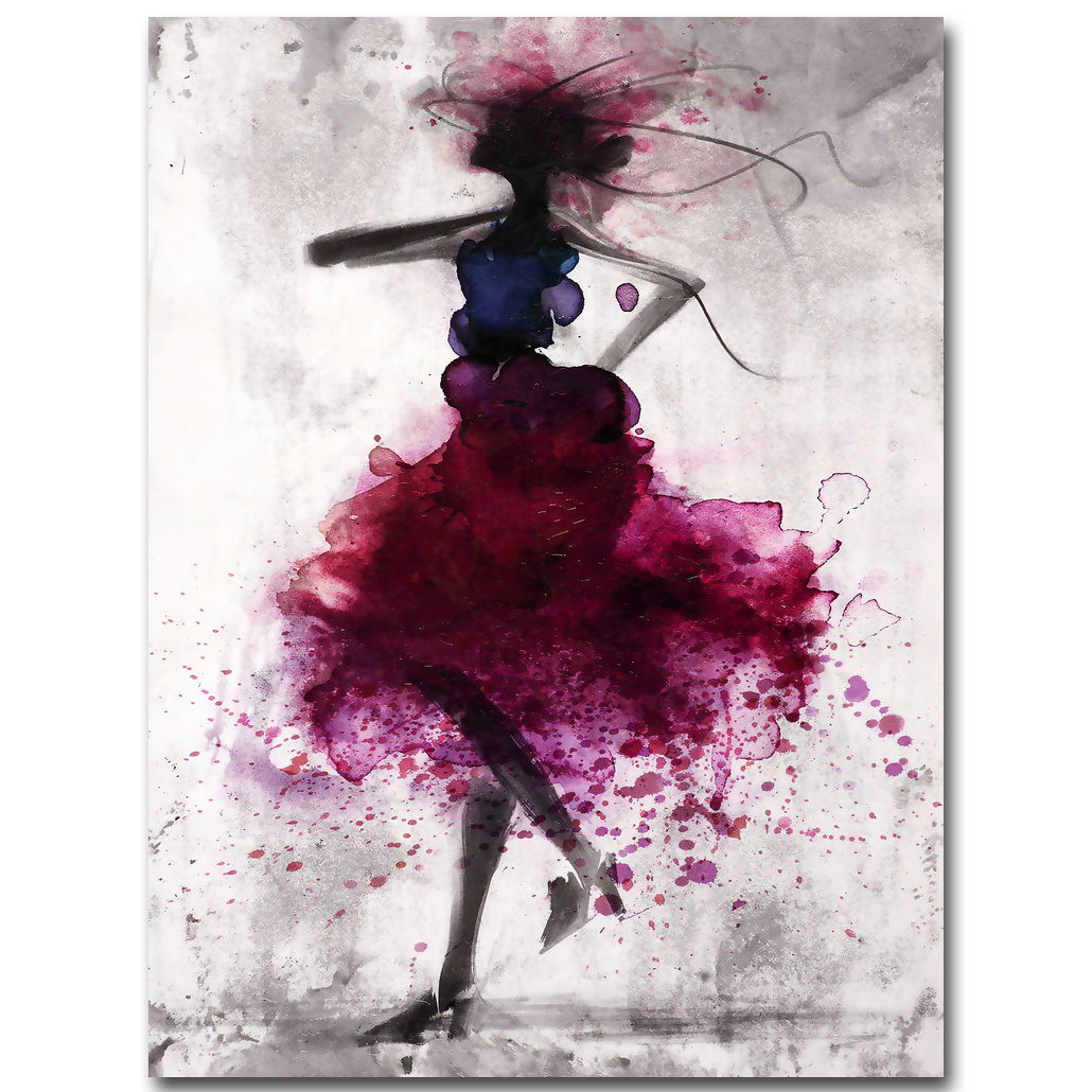 Fashion Red Girl Minimalist Abstract Art Canvas Oil Print Paintings Framed/Unframed - SallyHomey Life's Beautiful