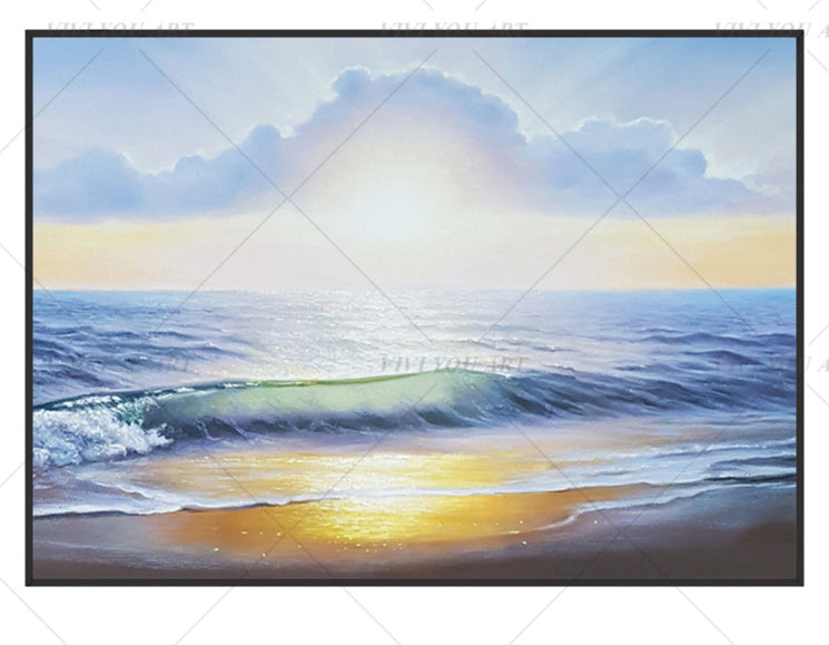 100% Hand PaintedSun Sea View Abstract Painting  Modern Art Picture For Living Room Modern Cuadros Canvas Art High Quality