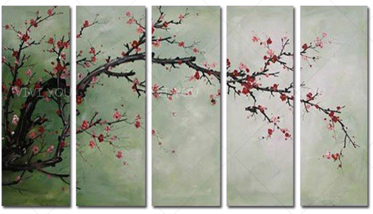 100% Hand Painted  Plum Blossom Original Flowers Modern Home Decor Oil Painting Artwork Silver White Painting Hand pained