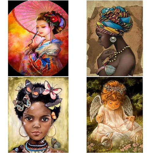DIY 5D Diamond Painting Woman Cartoon Diamond Embroidery Cross Stitch Full Round Drill Mosaic Rhinestone Wall Art Home Decor