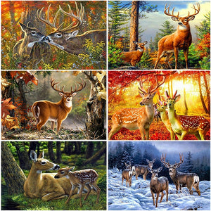 DIY 5D Diamond Painting Deer Diamond Embroidery Animals Cross Stitch Kits Full Round Drill Rhinestones Wall Art Home Decor Gift