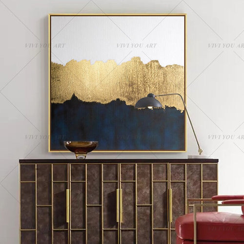 100% Hand Painted Bright Golden Gray Abstract Painting  Modern Art Picture For Living Room Modern Cuadros Canvas Art High Quality