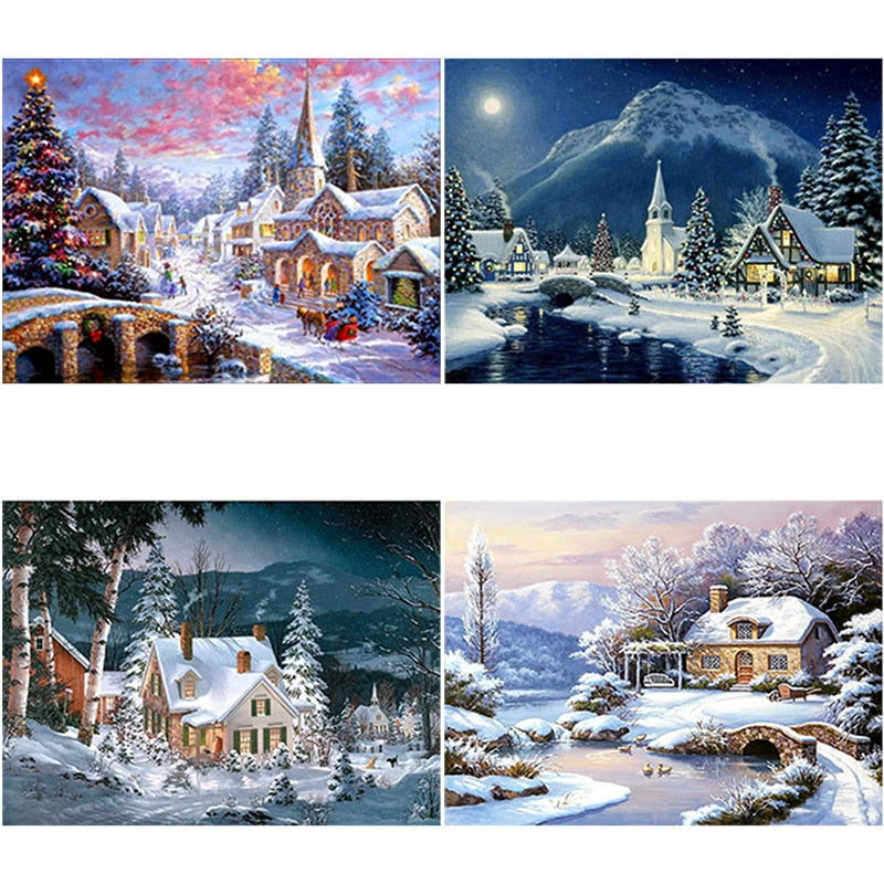DIY 5D Diamond Painting Snow Scenery Diamond Embroidery Winter Landscape Rhinestones Cross Stitch Full Round Mosaic Home Decor