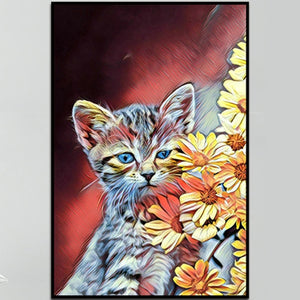100% Hand Painted Abstract Flower Cat Oil Painting On Canvas Wall Art Frameless Picture Decoration For Live Room Home Decor Gift