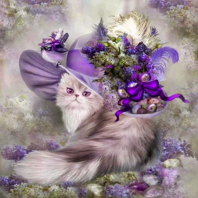 5D DIY Diamond Painting Cross Stitch Cat Flower Hat Full Round Drill Embroidery Rhinestones Christmas Home Decor