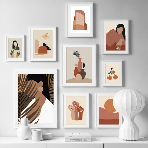 Abstract Girl Orange Vintage Scandinavian Wall Art Canvas Painting Nordic Posters And Prints Wall Pictures For Living Room Decor - SallyHomey Life's Beautiful