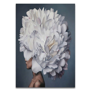Nordic Modern Floral Feather Woman Abstract Fashion Style Canvas Painting Art Print Poster Picture Wall Living Room Home Decor - SallyHomey Life's Beautiful