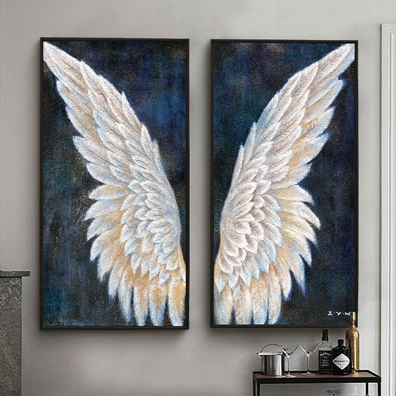 100% Hand Painted Abstract Angel Wings Oil Painting On Canvas Wall Art Frameless Picture Decoration For Live Room Home Deco Gift
