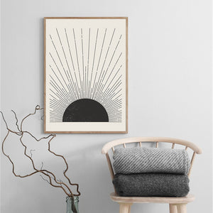 Abstract Canvas Painting Sun Illustration Posters And Prints Mid Century Modern Block Print Wall Picture For Living Room Decor - SallyHomey Life's Beautiful