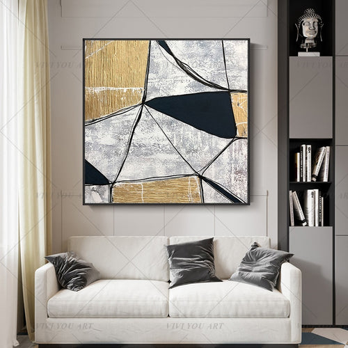100% Handmade Golden Black Block Abstract Painting  Modern Art Picture For Living Room Modern Cuadros Canvas Art High Quality