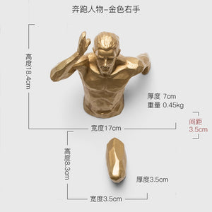 Creative Statue Running Man Racing Against Time Fgurine Wall Decoration Emboss 3D Figures Wall Hanging Sculpture Ornament - SallyHomey Life's Beautiful
