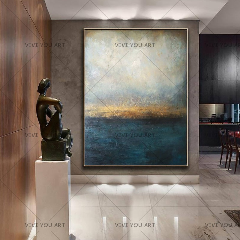 100% Handmade Abstract Painting Big Size Modern Blue Wall Art Picture For Living Room Modern Cuadros Canvas Art High Quality