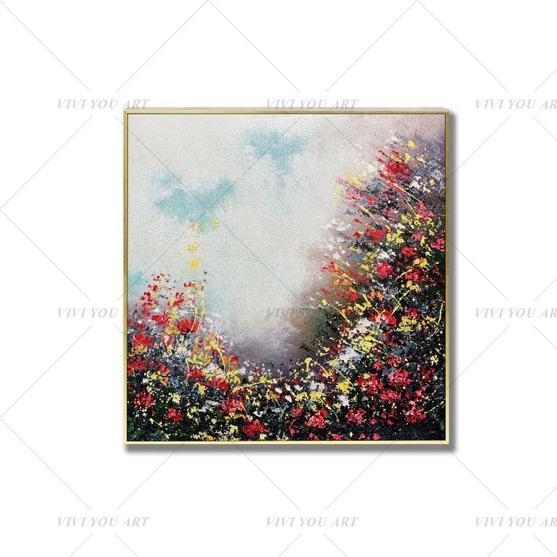 100% Hand Painted  Beautiful Flower Ring Abstract Painting  Modern Art Picture For Living Room Modern Cuadros Canvas Art High Quality