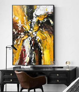 Abstract oil painting Original hand painted canvas oil painting yellow textured artwork for living room wall large wall decor - SallyHomey Life's Beautiful