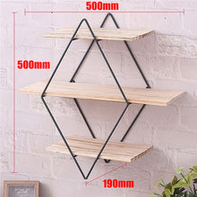 Load image into Gallery viewer, Vintage Iron Metal Wood Wall Shelf Kitchen Storage Rack Rhombus Craft Wall Book Hanging Rack Bathroom Organizer Home Decoration