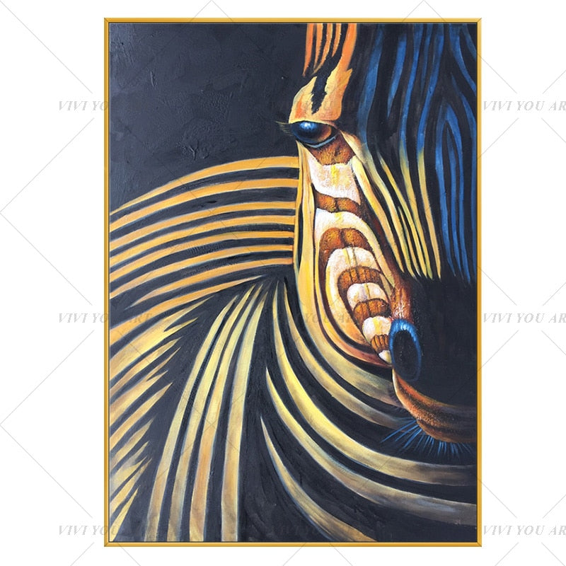 100% Hand Painted Gold Animal Zebra Abstract Painting  Modern Art Picture For Living Room Modern Cuadros Canvas Art High Quality