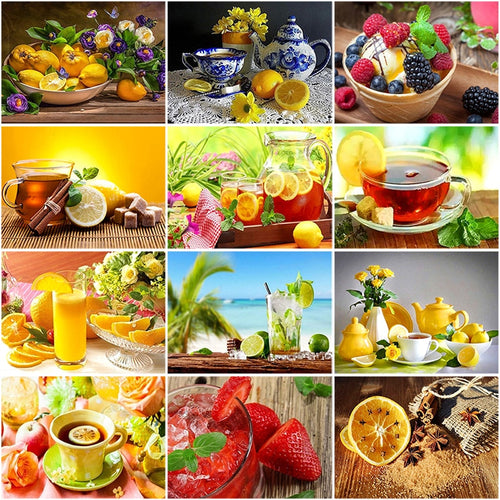 DIY 5D Diamond Painting Lemon Diamond Embroidery Fruits Cross Stitch Picture of Rhinestones Mosaic Paintings Kitchen Decor Gift