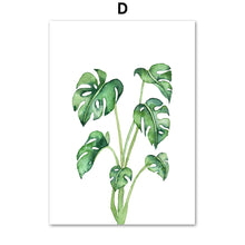 Load image into Gallery viewer, Monstera Cactus Leaves Tropical Plants Wall Art Canvas Painting Nordic Posters And Prints Wall Pictures For Living Room Decor - SallyHomey Life's Beautiful