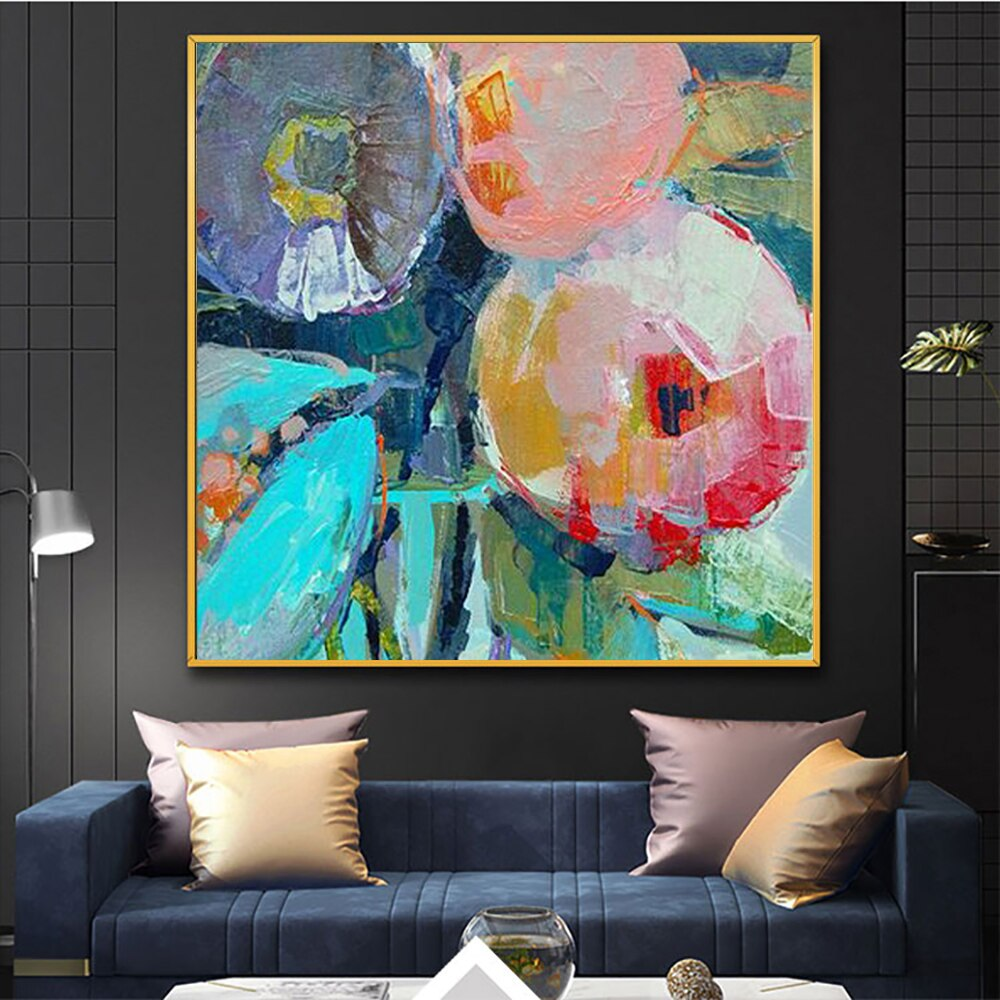 Large Modern pintura oleo flores canvas wall art  abstract oil painting on canvas decorative picture for living room decoration - SallyHomey Life's Beautiful