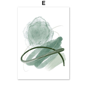 Fresh Green Leaf Abstract Girl Curve Door Nordic Posters And Prints Wall Art Canvas Painting Wall Pictures For Living Room Decor - SallyHomey Life's Beautiful