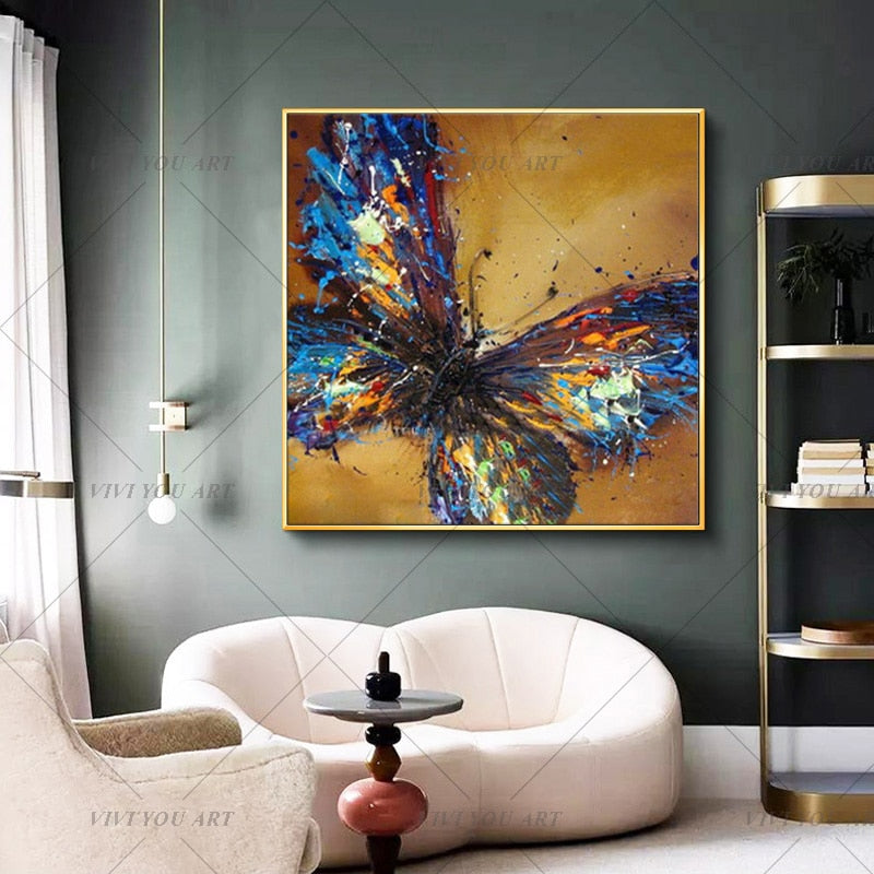 100% Handpainted Artwork High Quality Modern Wall Art On Canvas Animal Oil Painting Blue Butterfly Hang Pictures Room Decor