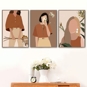 Abstract Fashion Vintage Girl Plant Wall Art Canvas Painting Nordic Posters And Prints Wall Pictures For Living Room Decor - SallyHomey Life's Beautiful