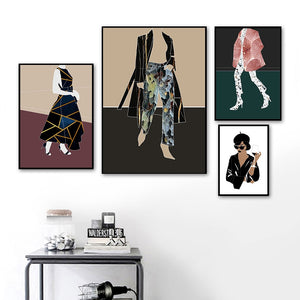 Modern Fashion Girl Abstract Girls FaceWall Art Canvas Painting Nordic Posters And Prints Wall Pictures For Living Room Decor - SallyHomey Life's Beautiful