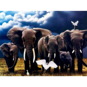 DIY 5D Diamond Painting Elephant Family Diamond Embroidery Animal Cross Stitch Mosaic Rhinestones Wall Sticker Decor Gift - SallyHomey Life's Beautiful