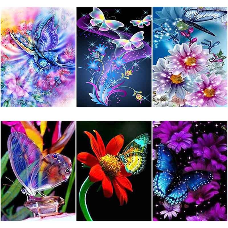 DIY 5D Diamond Painting Flower Butterfly Diamond Embroidery Animal Cross Stitch Full Round Drill Rhinestone Decor Home Art Wall