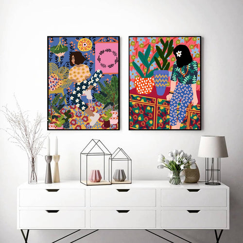Abstract Fashion Vintage Girl Plant Dog Wall Art Canvas Painting Nordic Posters And Prints Wall Pictures For Living Room Decor - SallyHomey Life's Beautiful