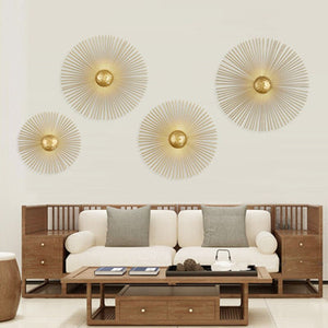 New Unique Circular Metal Led Wall Lamps Foyer Dining Room Bedside Wall Lights Sconce Retro Home Deco Light Fixtures Art Design - SallyHomey Life's Beautiful