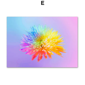 Chrysanthemum Carnation Colorful Flower Wall Art Canvas Painting Nordic Posters And Prints Wall Pictures For Living Room Decor - SallyHomey Life's Beautiful