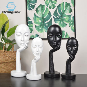 Strongwell Nordic Silence Face Figurine Animal Abstract Sculpture Resin Statue Decor Home Decoration Accessories Modern Art