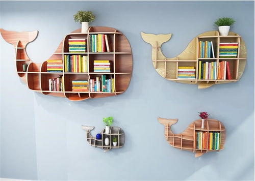 Solid Wood Wall-mounted Rack Partition Storage Shelf Whale Shape Background Wall Cabinet Shelves Store Home Decorations