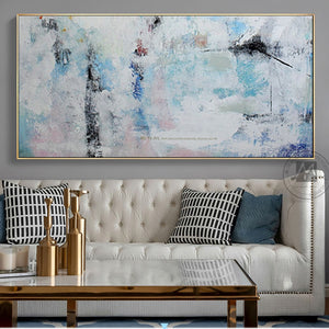 Abstract painting canvas modern acrylic paintings blue handmade horizontal large canvas wall art wall pictures for living room - SallyHomey Life's Beautiful