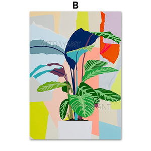 Colorful Abstract Monstera Leaves Wall Art Canvas Painting Nordic Posters And Prints Plants Wall Pictures For Living Room Decor - SallyHomey Life's Beautiful