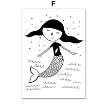 Load image into Gallery viewer, Girl Mermaid Black White Scandinavian Nursery Wall Art Canvas Painting Nordic Posters And Prints Wall Pictures Kids Room Decor - SallyHomey Life's Beautiful