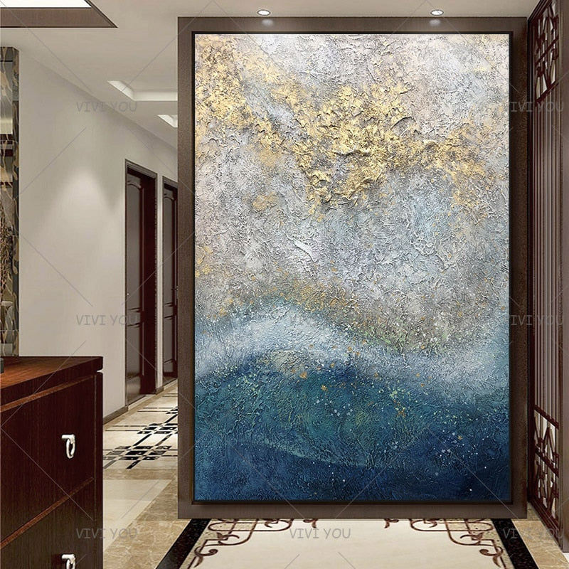 100% Handpainted By Professional Artist Handmade Abstract Landscape Oil Painting On Canvas Living Room Home Decor Gold Art