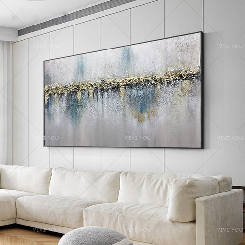 100% Hand Painted Art Colorful Gray White Blue Light Oil Painting  Canvas For Room Decor Modern  100% Handmade Abstract Picture  Painting