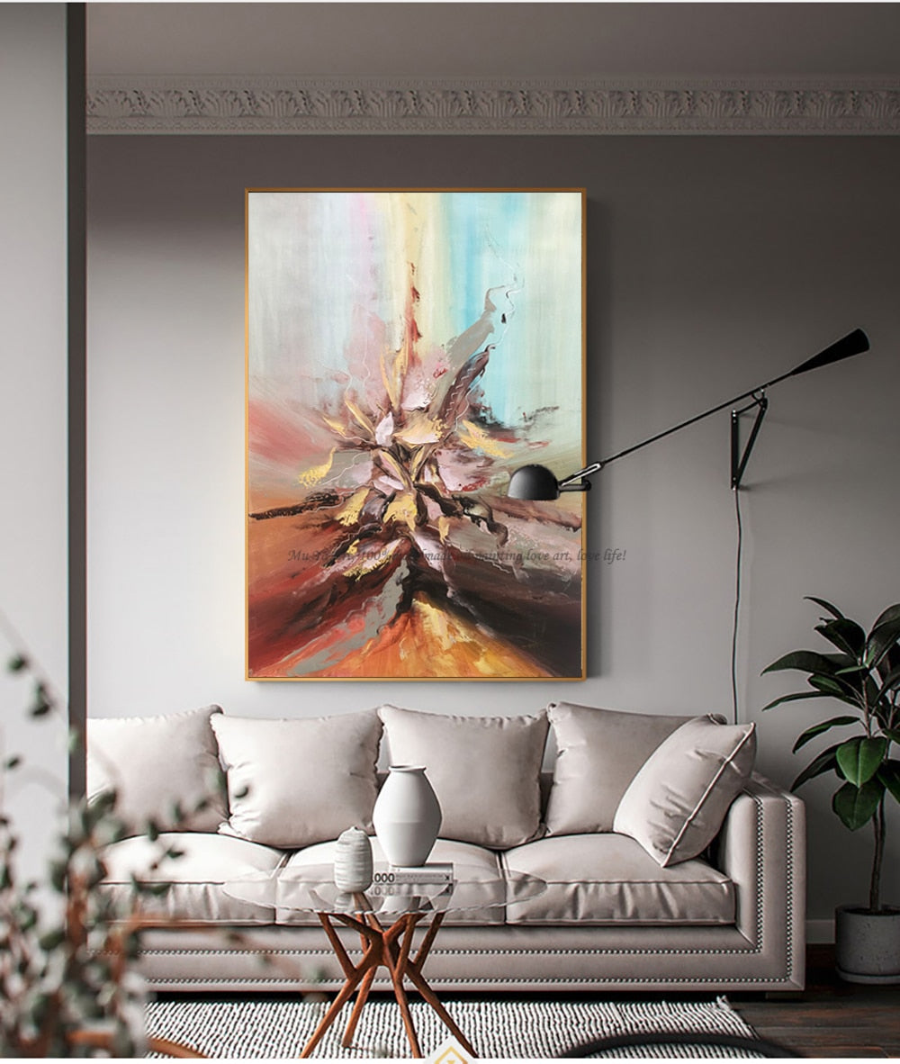 Abstract painting original artwork art modern oil on canvas oil painting vintage wall pictures for living room handmade acrylic - SallyHomey Life's Beautiful