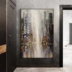 100% Hand Painted  Fall View Brown Abstract Painting  Modern Art Picture For Living Room Modern Cuadros Canvas Art High Quality