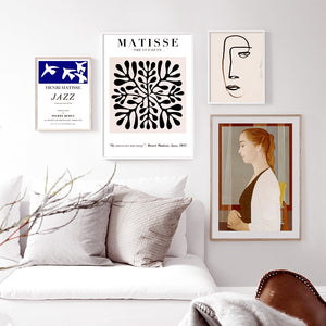 Vintage Abstract Matisse Line Figure Leaf Wall Art Canvas Painting Nordic Posters And Prints Wall Pictures For Living Room Decor - SallyHomey Life's Beautiful