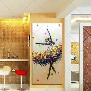 Handmade Paintings Ballet Dancer Pictures Hand Painted Abstract Knife Oil Painting On Canvas Wall Art For Living Room Home Decor - SallyHomey Life's Beautiful